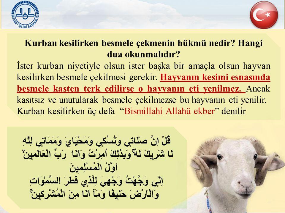 Kurban kesilirken besmele çekmenin hükmü nedir? Hangi dua okunmalıdır? İster kurban niyetiyle olsun ister başka bir amaçla olsun hayvan kesilirken bes