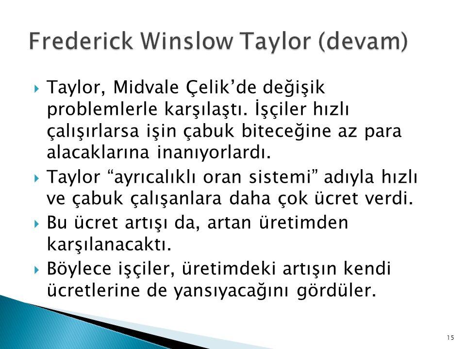  Taylor, Midvale Çelik'de değişik problemlerle karşılaştı. İşçiler hızlı çalışırlarsa işin çabuk biteceğine az para alacaklarına inanıyorlardı.  Tay