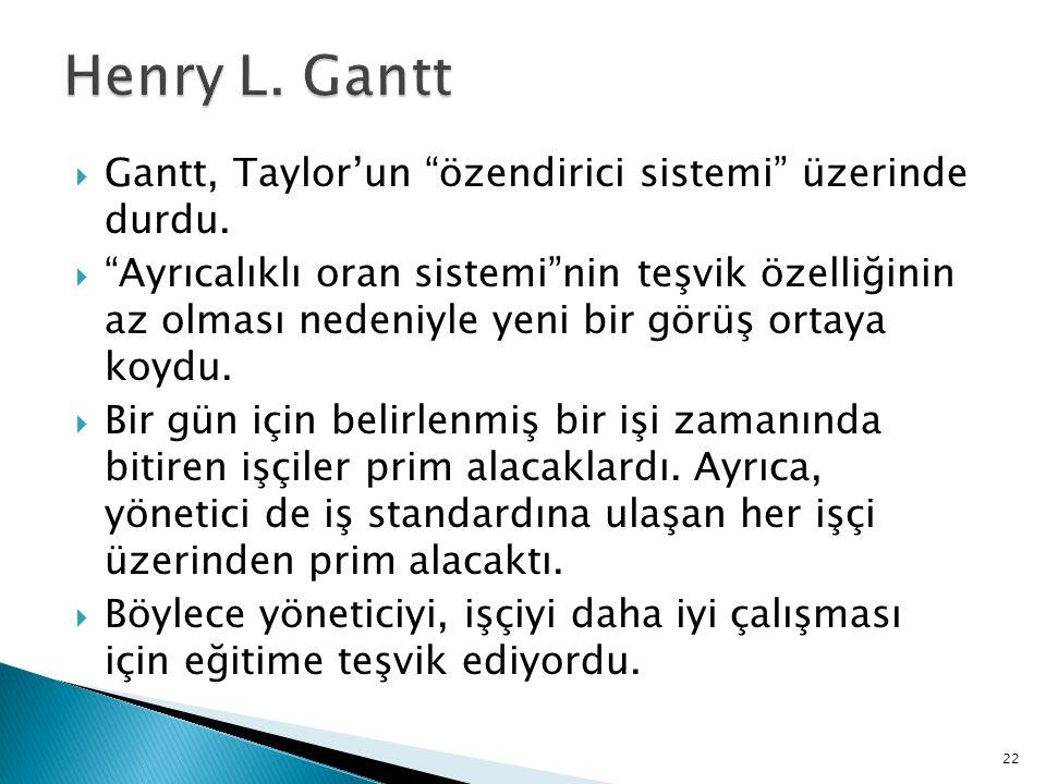 """ Gantt, Taylor'un """"özendirici sistemi"""" üzerinde durdu.  """"Ayrıcalıklı oran sistemi""""nin teşvik özelliğinin az olması nedeniyle yeni bir görüş ortaya k"""