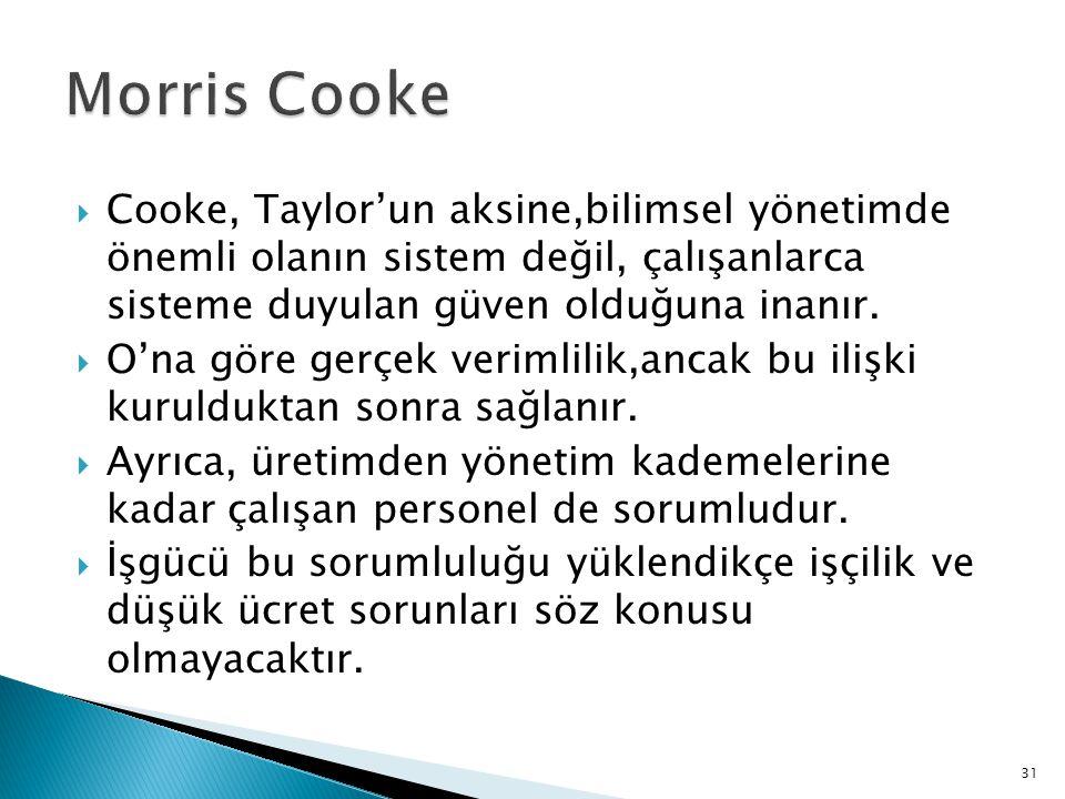 Cooke, Taylor'un aksine,bilimsel yönetimde önemli olanın sistem değil, çalışanlarca sisteme duyulan güven olduğuna inanır.  O'na göre gerçek veriml