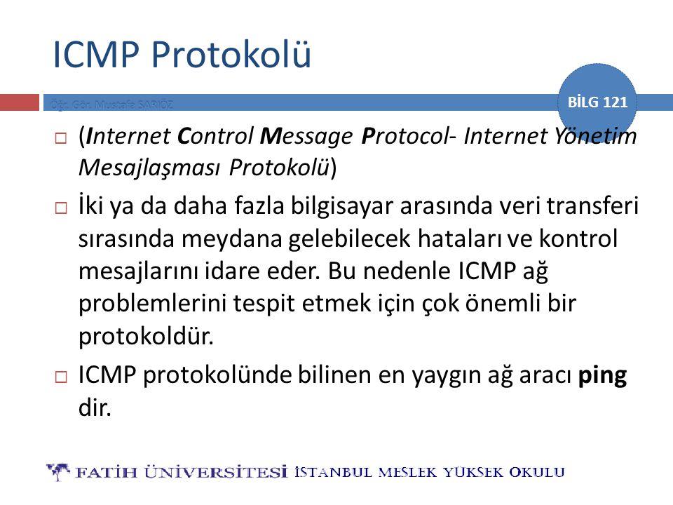 BİLG 121 ICMP Protokolü  (Internet Control Message Protocol- Internet Yönetim Mesajlaşması Protokolü)  İki ya da daha fazla bilgisayar arasında veri