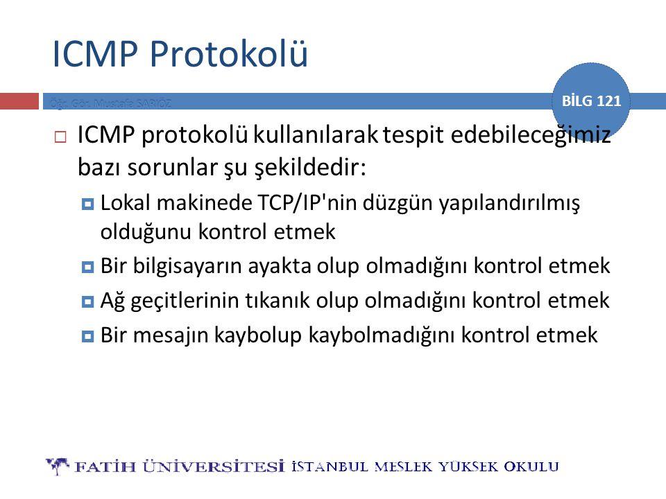 BİLG 121 ICMP Protokolü  ICMP protokolü kullanılarak tespit edebileceğimiz bazı sorunlar şu şekildedir:  Lokal makinede TCP/IP'nin düzgün yapılandır