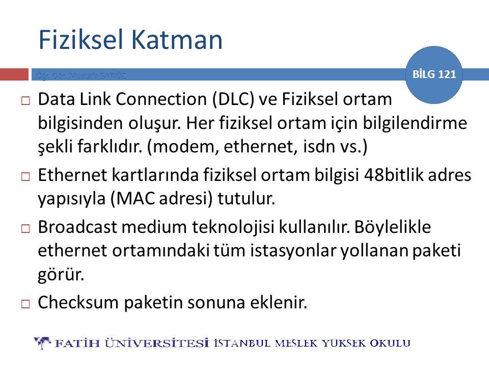 BİLG 121 Fiziksel Katman  Data Link Connection (DLC) ve Fiziksel ortam bilgisinden oluşur. Her fiziksel ortam için bilgilendirme şekli farklıdır. (mo