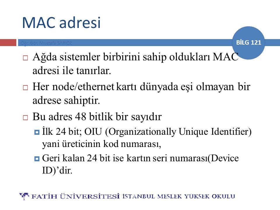 BİLG 121 MAC adresi  Ağda sistemler birbirini sahip oldukları MAC adresi ile tanırlar.  Her node/ethernet kartı dünyada eşi olmayan bir adrese sahip