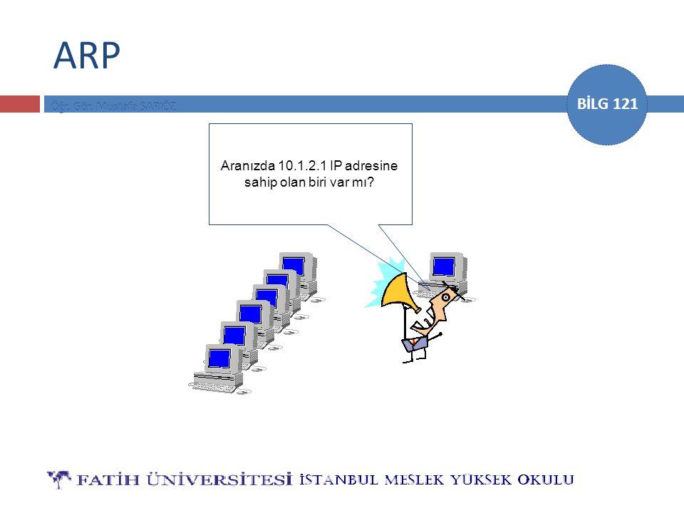 BİLG 121 ARP Aranızda 10.1.2.1 IP adresine sahip olan biri var mı?