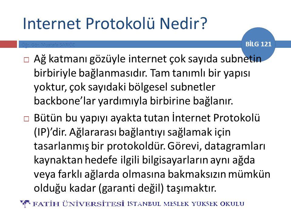 BİLG 121 Internet Protokolü Nedir?  Ağ katmanı gözüyle internet çok sayıda subnetin birbiriyle bağlanmasıdır. Tam tanımlı bir yapısı yoktur, çok sayı