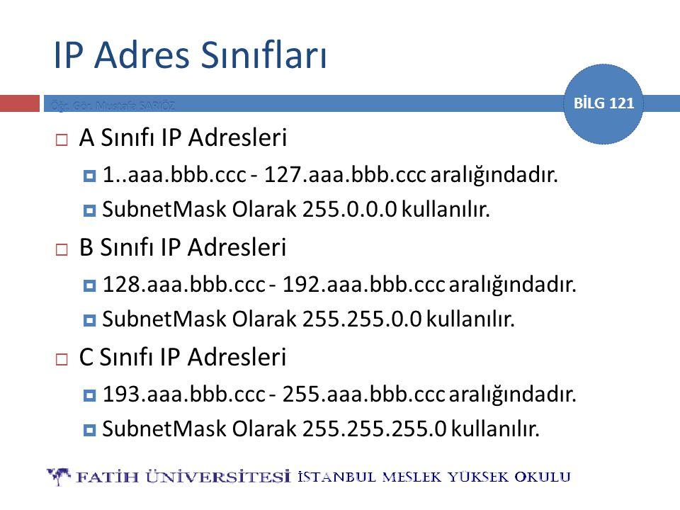 BİLG 121 IP Adres Sınıfları  A Sınıfı IP Adresleri  1..aaa.bbb.ccc - 127.aaa.bbb.ccc aralığındadır.  SubnetMask Olarak 255.0.0.0 kullanılır.  B Sı