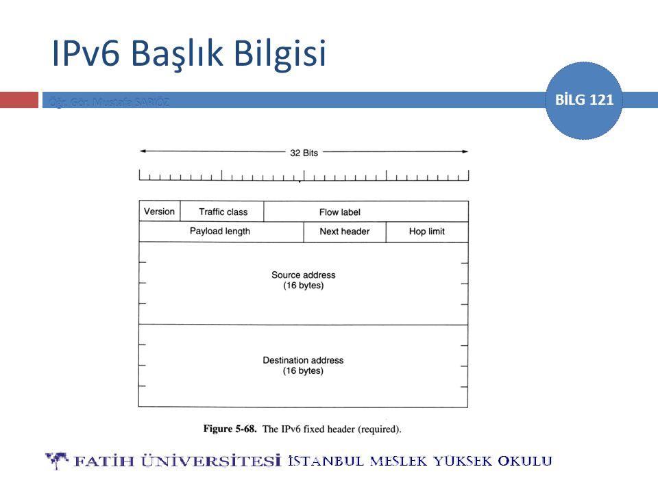 BİLG 121 IPv6 Başlık Bilgisi