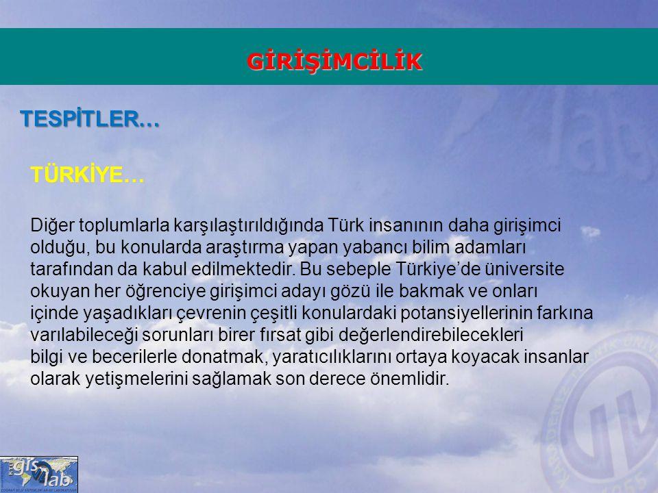 GİRİŞİMCİLİK TESPİTLER… TÜRKİYE… Diğer toplumlarla karşılaştırıldığında Türk insanının daha girişimci olduğu, bu konularda araştırma yapan yabancı bil