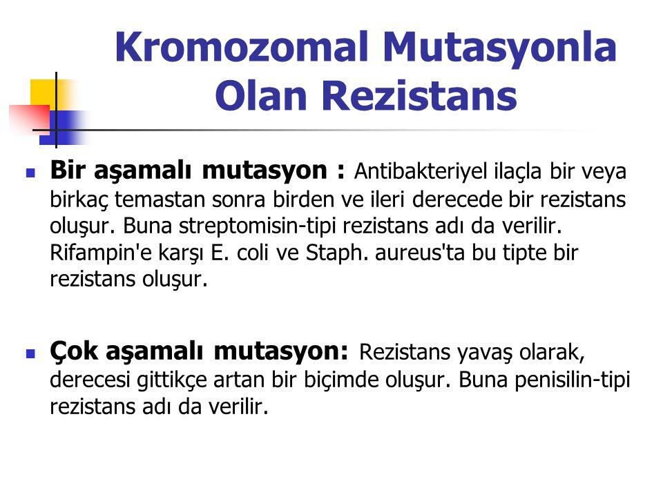 Kromozomal Mutasyonla Olan Rezistans Bir aşamalı mutasyon : Antibakteriyel ilaçla bir veya birkaç temastan sonra birden ve ileri derecede bir rezistan