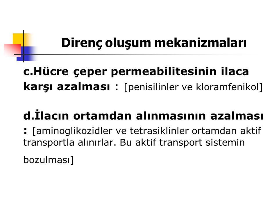 Direnç oluşum mekanizmaları c.Hücre çeper permeabilitesinin ilaca karşı azalması : [penisilinler ve kloramfenikol] d.İlacın ortamdan alınmasının azalm