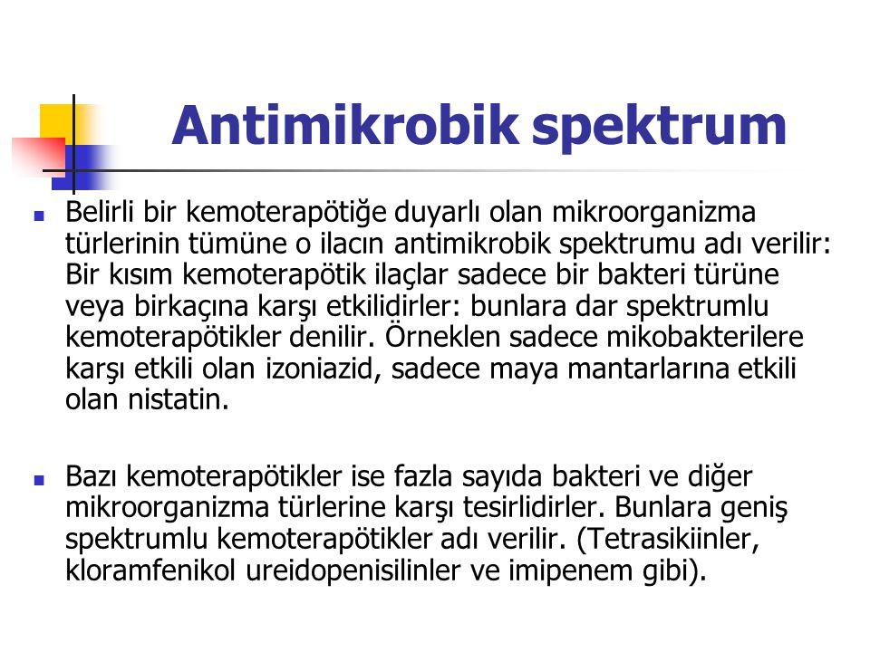 Antimikrobik spektrum Belirli bir kemoterapötiğe duyarlı olan mikroorganizma türlerinin tümüne o ilacın antimikrobik spektrumu adı verilir: Bir kısım