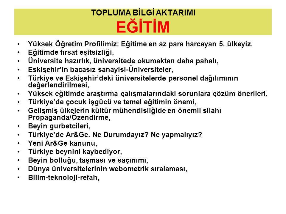 TOPLUMA BİLGİ AKTARIMI EĞİTİM Yüksek Öğretim Profilimiz: Eğitime en az para harcayan 5.