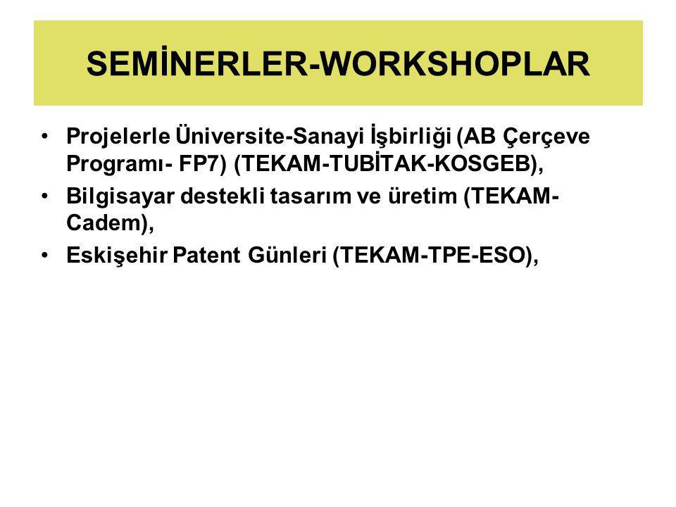 SEMİNERLER-WORKSHOPLAR Projelerle Üniversite-Sanayi İşbirliği (AB Çerçeve Programı- FP7) (TEKAM-TUBİTAK-KOSGEB), Bilgisayar destekli tasarım ve üretim (TEKAM- Cadem), Eskişehir Patent Günleri (TEKAM-TPE-ESO),