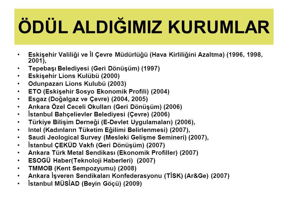 ÖDÜL ALDIĞIMIZ KURUMLAR Eskişehir Valiliği ve İl Çevre Müdürlüğü (Hava Kirliliğini Azaltma) (1996, 1998, 2001), Tepebaşı Belediyesi (Geri Dönüşüm) (1997) Eskişehir Lions Kulübü (2000) Odunpazarı Lions Kulubü (2003) ETO (Eskişehir Sosyo Ekonomik Profili) (2004) Esgaz (Doğalgaz ve Çevre) (2004, 2005) Ankara Özel Ceceli Okulları (Geri Dönüşüm) (2006) İstanbul Bahçelievler Belediyesi (Çevre) (2006) Türkiye Bilişim Derneği (E-Devlet Uygulamaları) (2006), Intel (Kadınların Tüketim Eğilimi Belirlenmesi) (2007), Saudi Jeological Survey (Mesleki Gelişme Semineri) (2007), İstanbul ÇEKÜD Vakfı (Geri Dönüşüm) (2007) Ankara Türk Metal Sendikası (Ekonomik Profiller) (2007) ESOGÜ Haber(Teknoloji Haberleri) (2007) TMMOB (Kent Sempozyumu) (2008) Ankara İşveren Sendikaları Konfederasyonu (TİSK) (Ar&Ge) (2007) İstanbul MÜSİAD (Beyin Göçü) (2009)