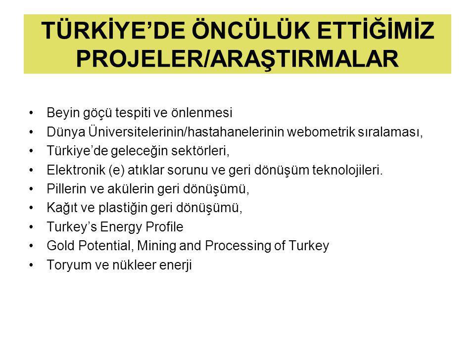 TÜRKİYE'DE ÖNCÜLÜK ETTİĞİMİZ PROJELER/ARAŞTIRMALAR Beyin göçü tespiti ve önlenmesi Dünya Üniversitelerinin/hastahanelerinin webometrik sıralaması, Türkiye'de geleceğin sektörleri, Elektronik (e) atıklar sorunu ve geri dönüşüm teknolojileri.