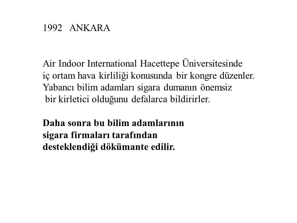 1992 ANKARA Air Indoor International Hacettepe Üniversitesinde iç ortam hava kirliliği konusunda bir kongre düzenler.