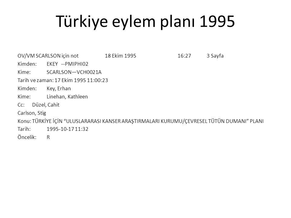 Türkiye eylem planı 1995 OV/VM SCARLSON için not 18 Ekim 1995 16:27 3 Sayfa Kimden: EKEY --PMIPHI02 Kime: SCARLSON—VCH0021A Tarih ve zaman: 17 Ekim 19