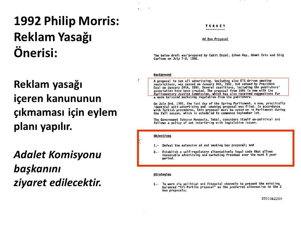 1992 Philip Morris: Reklam Yasağı Önerisi: Reklam yasağı içeren kanununun çıkmaması için eylem planı yapılır. Adalet Komisyonu başkanını ziyaret edile