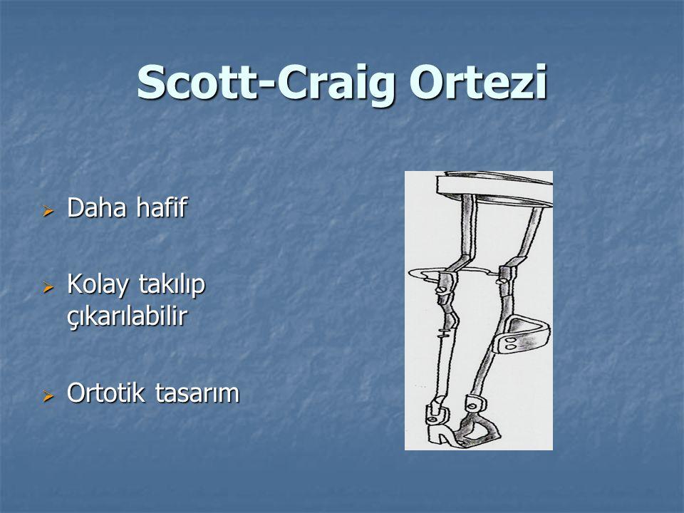 Scott-Craig Ortezi  Daha hafif  Kolay takılıp çıkarılabilir  Ortotik tasarım