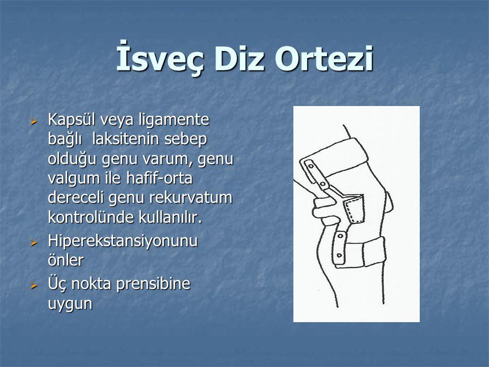 İsveç Diz Ortezi  Kapsül veya ligamente bağlı laksitenin sebep olduğu genu varum, genu valgum ile hafif-orta dereceli genu rekurvatum kontrolünde kullanılır.