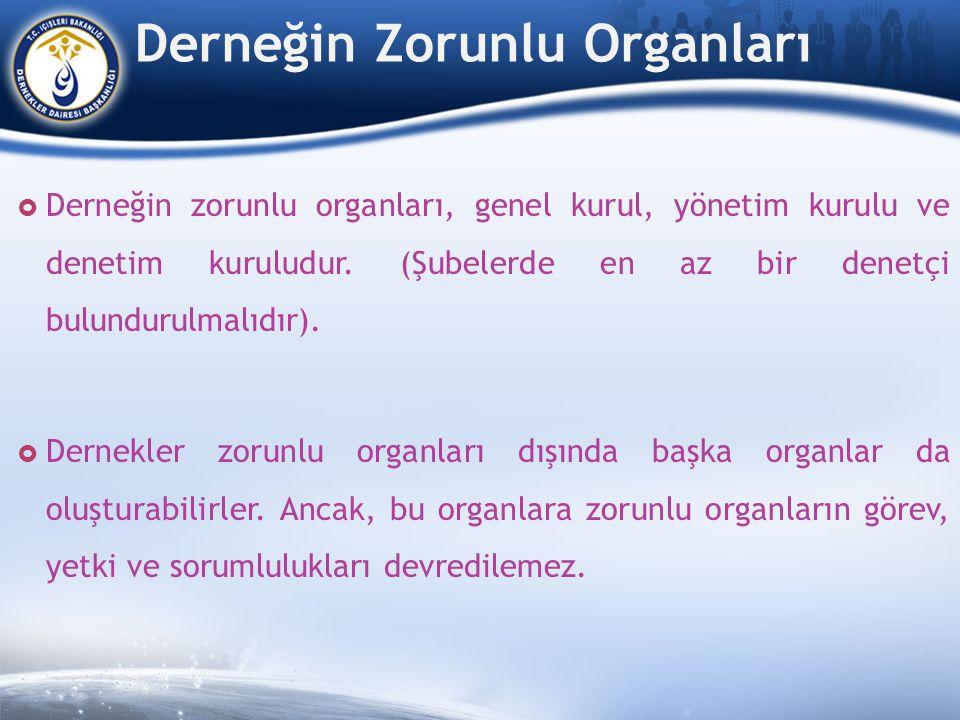 Derneğin Zorunlu Organları  Derneğin zorunlu organları, genel kurul, yönetim kurulu ve denetim kuruludur.