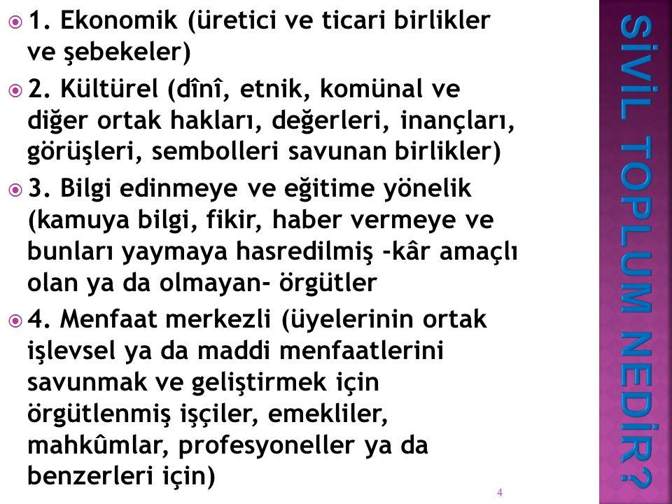 4  1.Ekonomik (üretici ve ticari birlikler ve şebekeler)  2.
