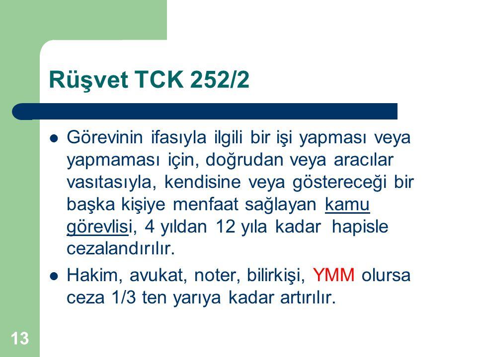 Rüşvet TCK 252/2 Görevinin ifasıyla ilgili bir işi yapması veya yapmaması için, doğrudan veya aracılar vasıtasıyla, kendisine veya göstereceği bir baş