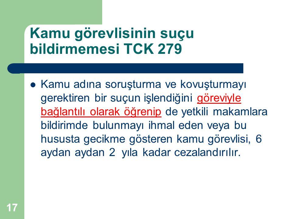 Kamu görevlisinin suçu bildirmemesi TCK 279 Kamu adına soruşturma ve kovuşturmayı gerektiren bir suçun işlendiğini göreviyle bağlantılı olarak öğrenip