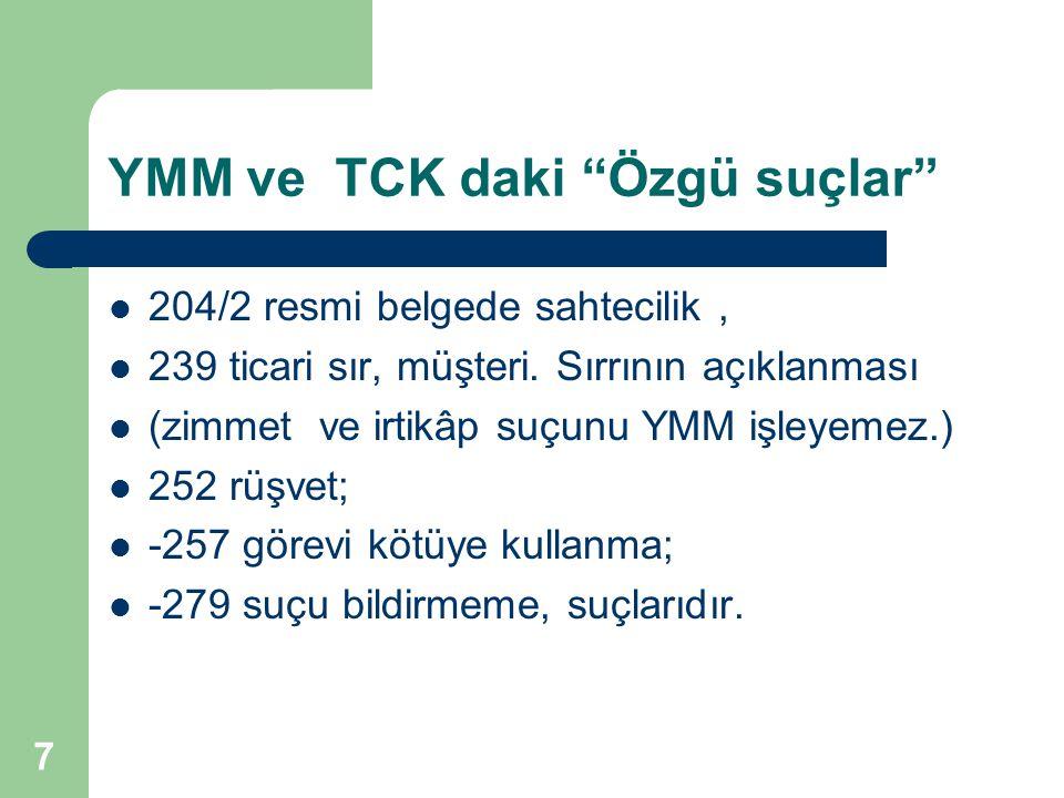 """YMM ve TCK daki """"Özgü suçlar"""" 204/2 resmi belgede sahtecilik, 239 ticari sır, müşteri. Sırrının açıklanması (zimmet ve irtikâp suçunu YMM işleyemez.)"""