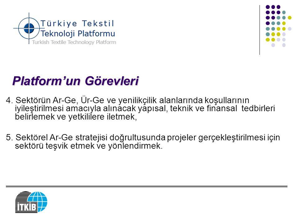 Platform'un Görevleri 4. Sektörün Ar-Ge, Ür-Ge ve yenilikçilik alanlarında koşullarının iyileştirilmesi amacıyla alınacak yapısal, teknik ve finansal