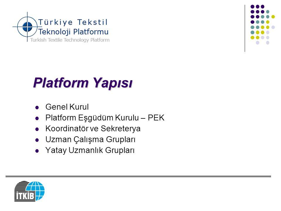 Platform Yapısı Genel Kurul Platform Eşgüdüm Kurulu – PEK Koordinatör ve Sekreterya Uzman Çalışma Grupları Yatay Uzmanlık Grupları