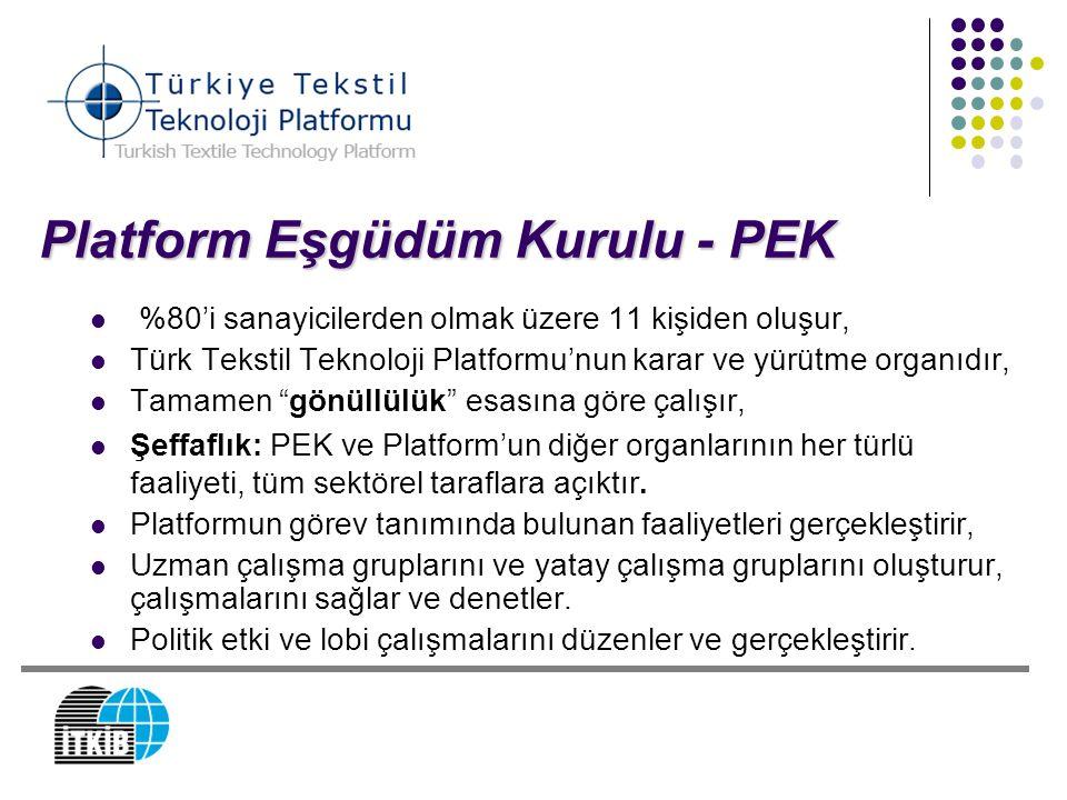 Platform Eşgüdüm Kurulu - PEK %80'i sanayicilerden olmak üzere 11 kişiden oluşur, Türk Tekstil Teknoloji Platformu'nun karar ve yürütme organıdır, Tam