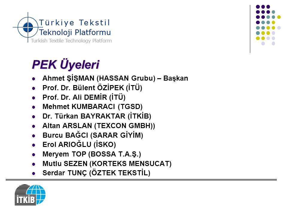 PEK Üyeleri Ahmet ŞİŞMAN (HASSAN Grubu) – Başkan Prof. Dr. Bülent ÖZİPEK (İTÜ) Prof. Dr. Ali DEMİR (İTÜ) Mehmet KUMBARACI (TGSD) Dr. Türkan BAYRAKTAR