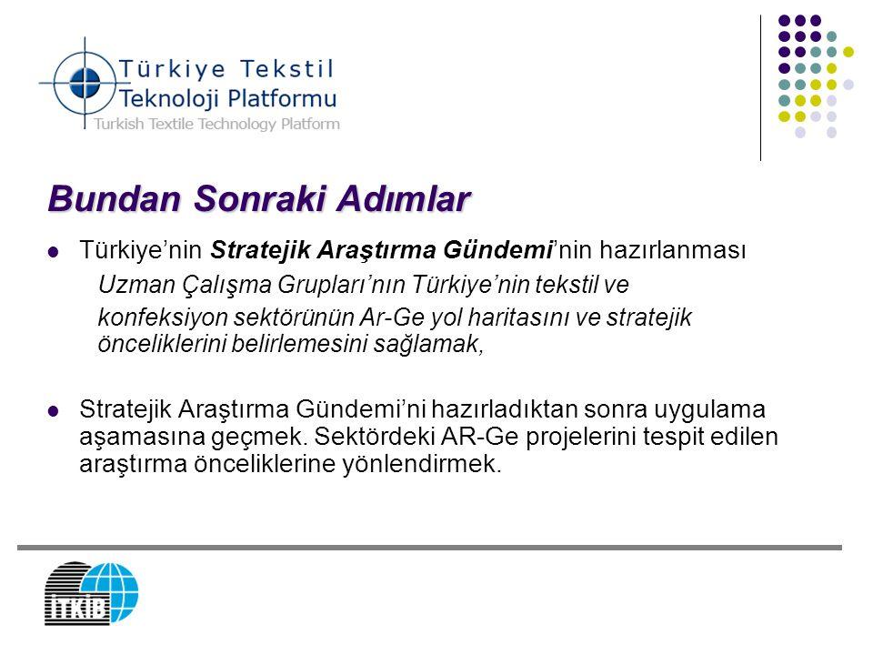 Bundan Sonraki Adımlar Türkiye'nin Stratejik Araştırma Gündemi'nin hazırlanması Uzman Çalışma Grupları'nın Türkiye'nin tekstil ve konfeksiyon sektörün