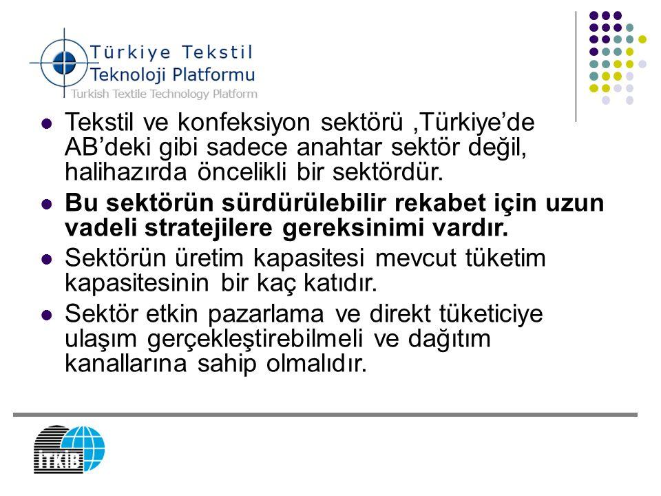 Tekstil ve konfeksiyon sektörü,Türkiye'de AB'deki gibi sadece anahtar sektör değil, halihazırda öncelikli bir sektördür. Bu sektörün sürdürülebilir re