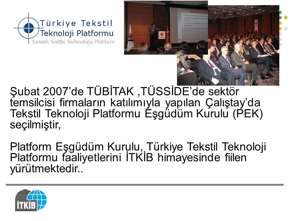 Şubat 2007'de TÜBİTAK,TÜSSİDE'de sektör temsilcisi firmaların katılımıyla yapılan Çalıştay'da Tekstil Teknoloji Platformu Eşgüdüm Kurulu (PEK) seçilmi