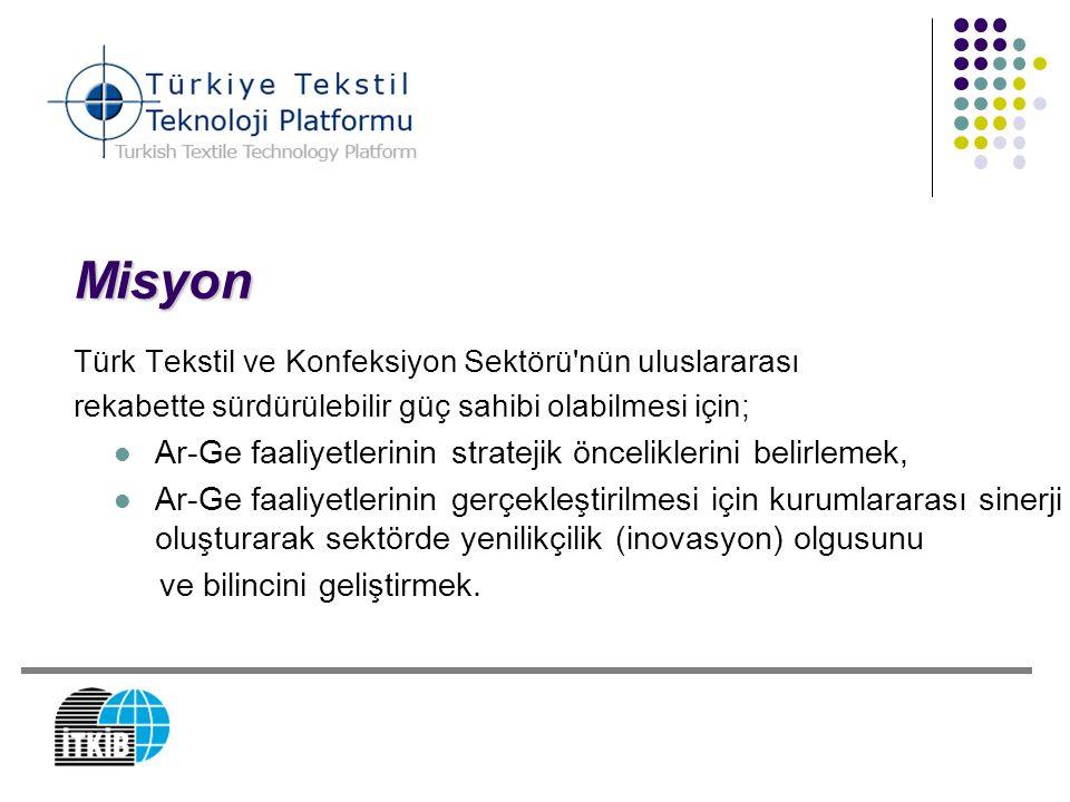 Misyon Türk Tekstil ve Konfeksiyon Sektörü'nün uluslararası rekabette sürdürülebilir güç sahibi olabilmesi için; Ar-Ge faaliyetlerinin stratejik öncel