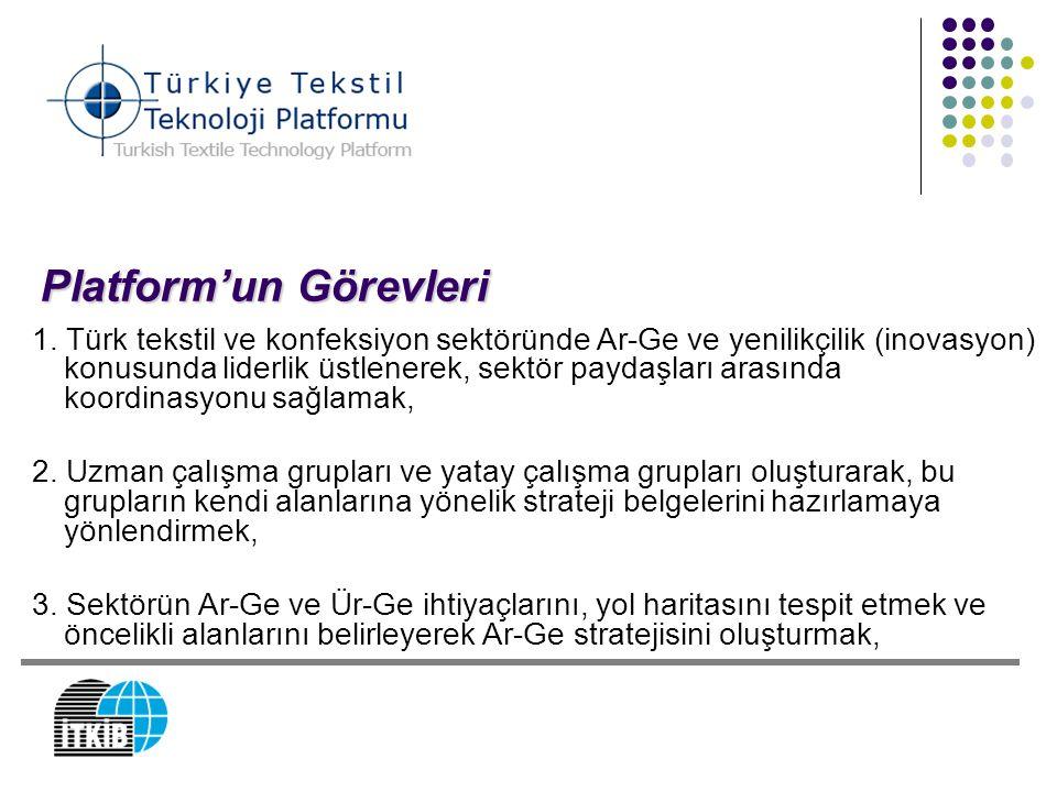 Platform'un Görevleri 1. Türk tekstil ve konfeksiyon sektöründe Ar-Ge ve yenilikçilik (inovasyon) konusunda liderlik üstlenerek, sektör paydaşları ara