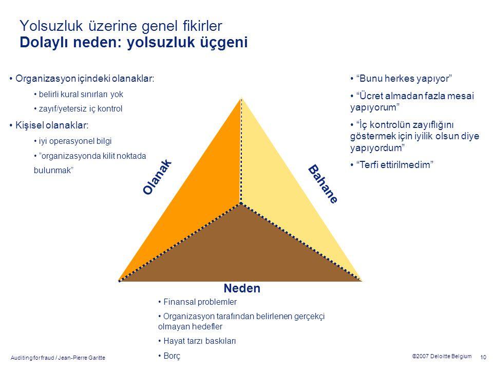 Auditing for fraud / Jean-Pierre Garitte 10 ©2007 Deloitte Belgium Yolsuzluk üzerine genel fikirler Dolaylı neden: yolsuzluk üçgeni Olanak Bahane Nede