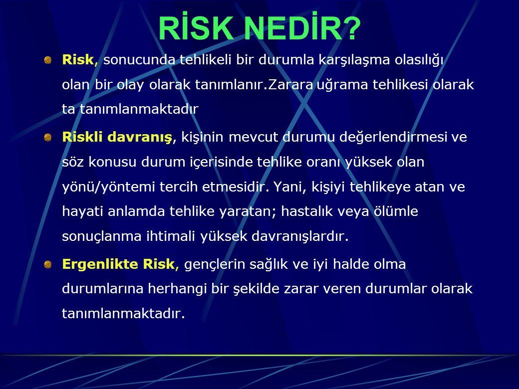 RİSK NEDİR? Risk, sonucunda tehlikeli bir durumla karşılaşma olasılığı olan bir olay olarak tanımlanır.Zarara uğrama tehlikesi olarak ta tanımlanmakta