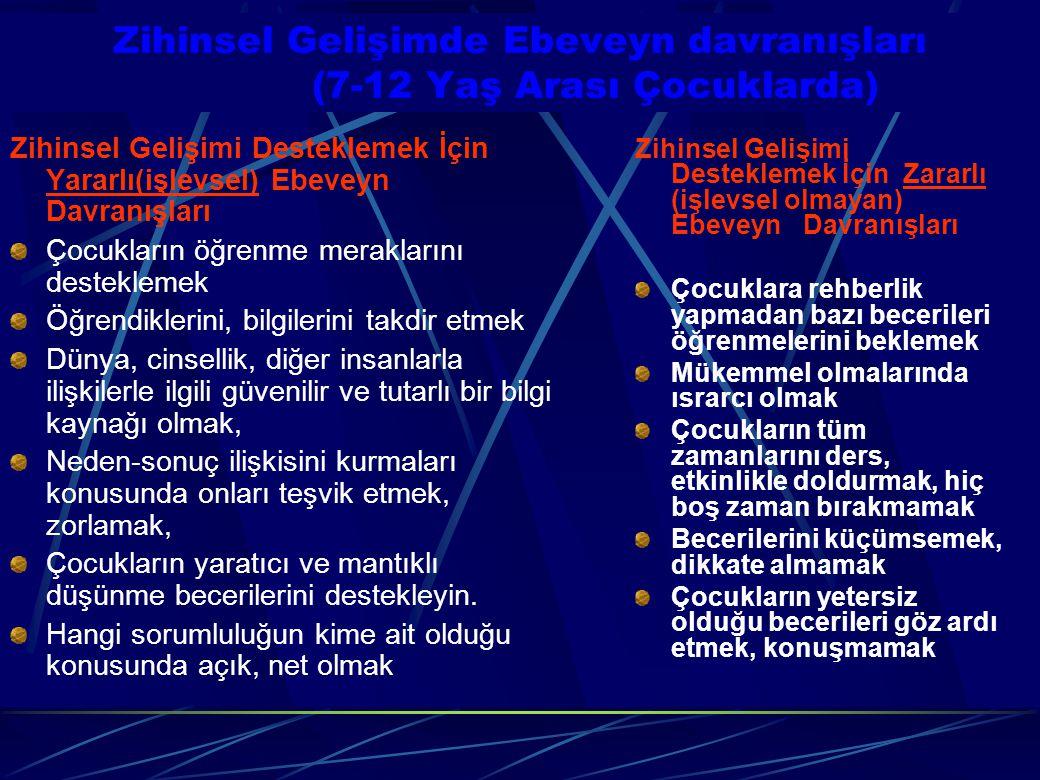Zihinsel Gelişimde Ebeveyn davranışları (7-12 Yaş Arası Çocuklarda) Zihinsel Gelişimi Desteklemek İçin Yararlı(işlevsel) Ebeveyn Davranışları Çocuklar