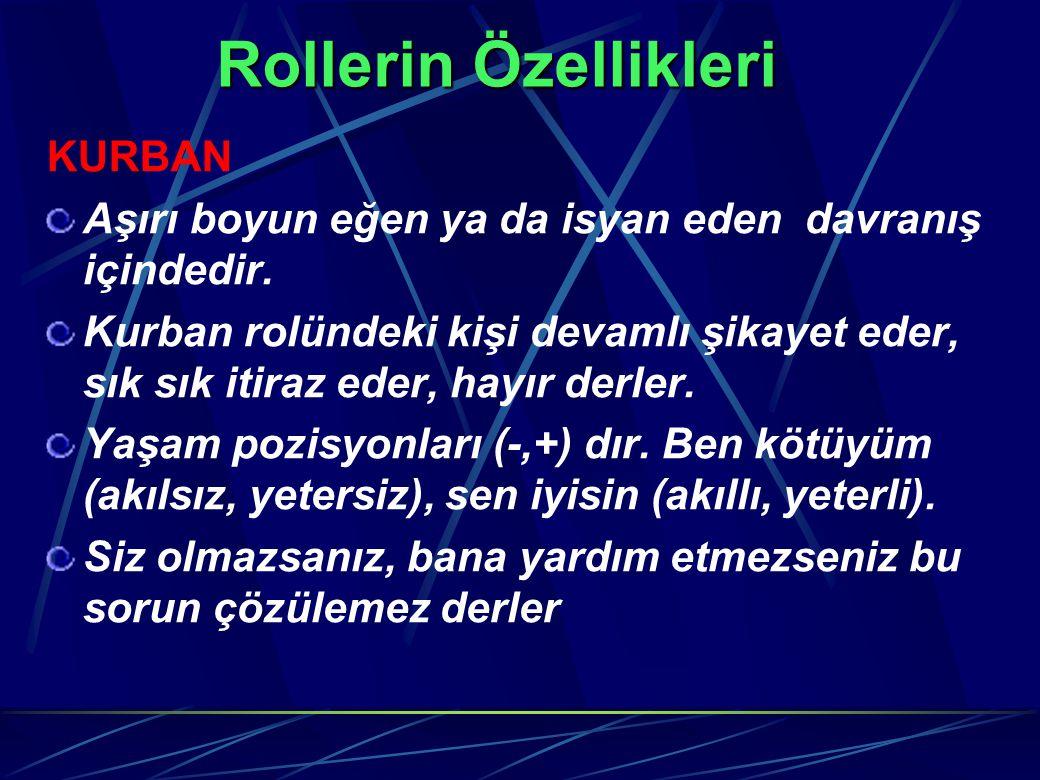 Rollerin Özellikleri KURBAN Aşırı boyun eğen ya da isyan eden davranış içindedir. Kurban rolündeki kişi devamlı şikayet eder, sık sık itiraz eder, hay