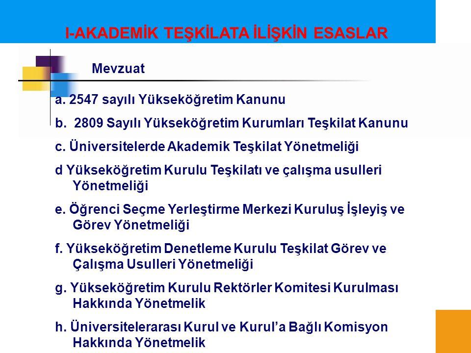 I-AKADEMİK TEŞKİLATA İLİŞKİN ESASLAR a. 2547 sayılı Yükseköğretim Kanunu b. 2809 Sayılı Yükseköğretim Kurumları Teşkilat Kanunu c. Üniversitelerde Aka