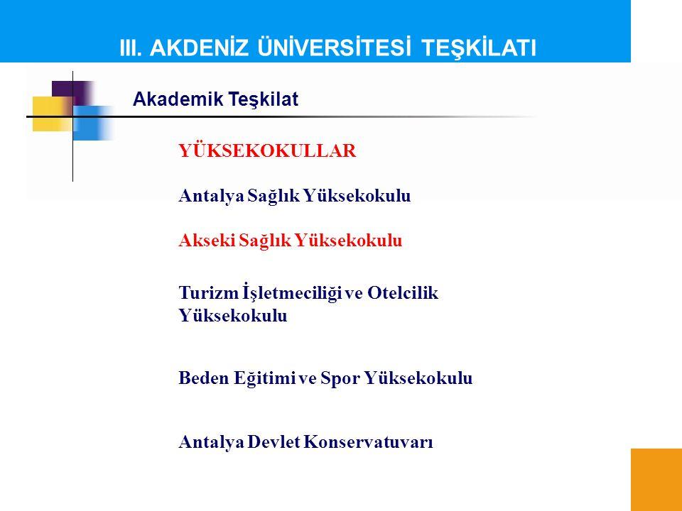III. AKDENİZ ÜNİVERSİTESİ TEŞKİLATI Akademik Teşkilat YÜKSEKOKULLAR Antalya Sağlık Yüksekokulu Akseki Sağlık Yüksekokulu Turizm İşletmeciliği ve Otelc