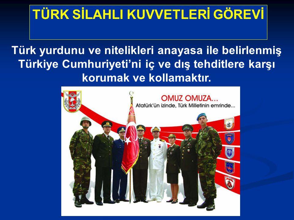 TÜRK SİLAHLI KUVVETLERİ GÖREVİ Türk yurdunu ve nitelikleri anayasa ile belirlenmiş Türkiye Cumhuriyeti'ni iç ve dış tehditlere karşı korumak ve kollamaktır.