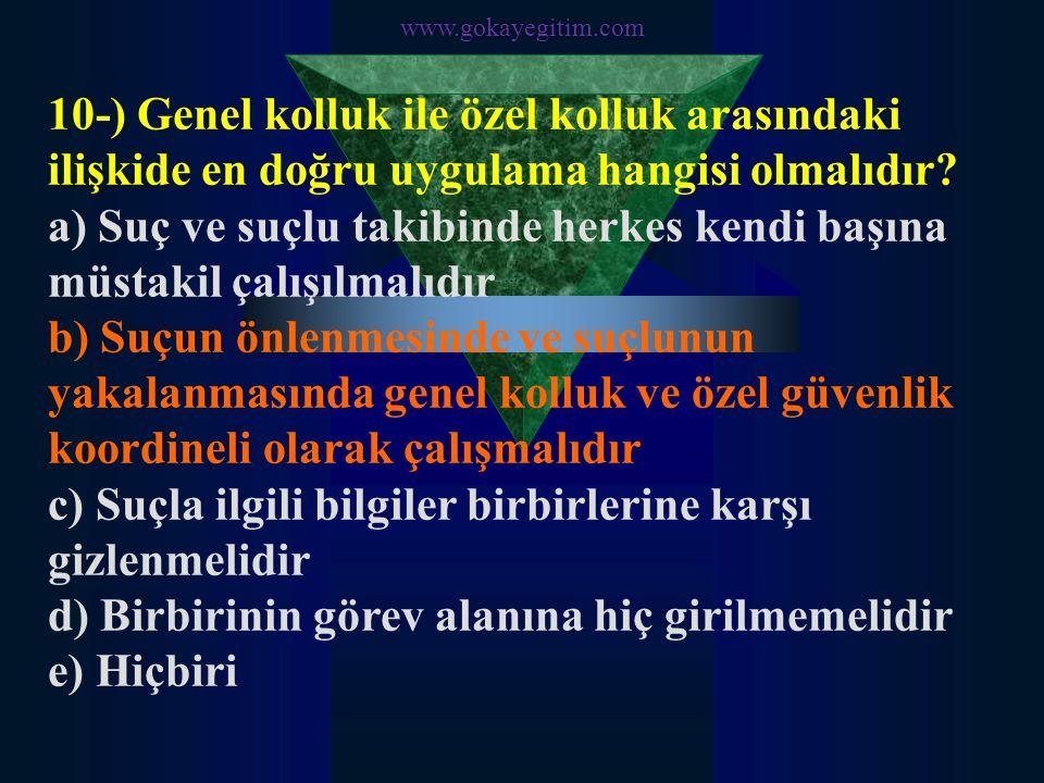 www.gokayegitim.com 10-) Genel kolluk ile özel kolluk arasındaki ilişkide en doğru uygulama hangisi olmalıdır? a) Suç ve suçlu takibinde herkes kendi