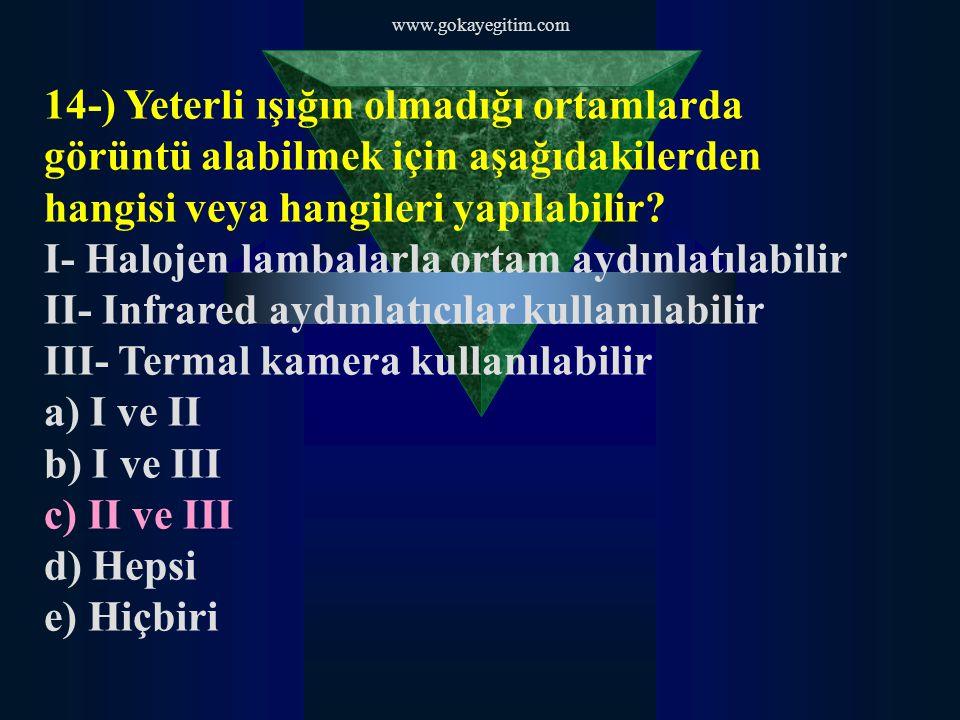 www.gokayegitim.com 14-) Yeterli ışığın olmadığı ortamlarda görüntü alabilmek için aşağıdakilerden hangisi veya hangileri yapılabilir? I- Halojen lamb