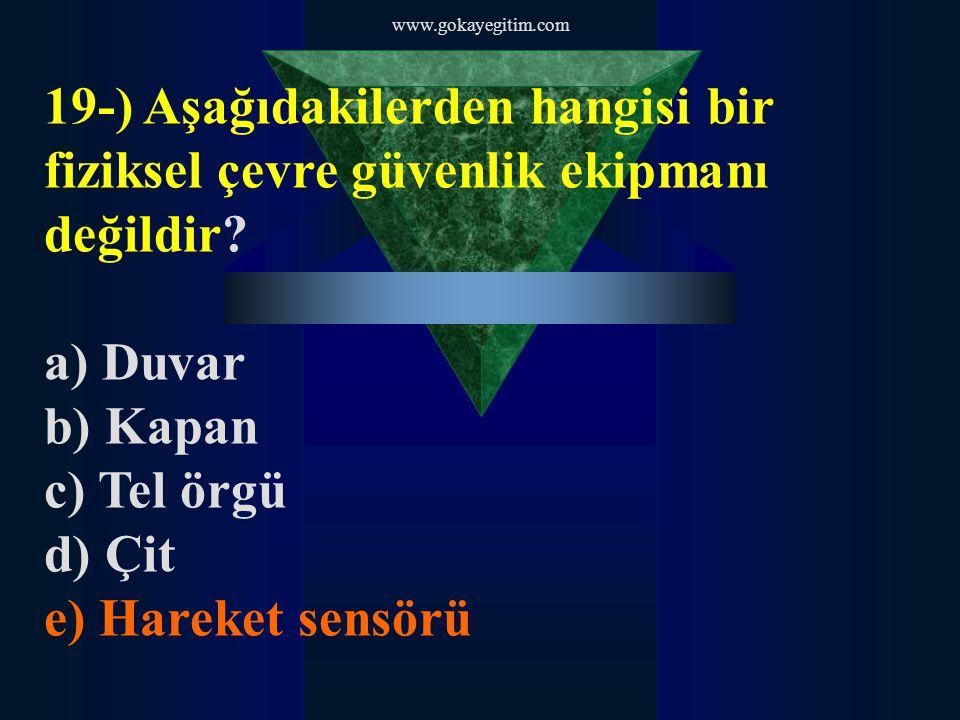 www.gokayegitim.com 19-) Aşağıdakilerden hangisi bir fiziksel çevre güvenlik ekipmanı değildir? a) Duvar b) Kapan c) Tel örgü d) Çit e) Hareket sensör