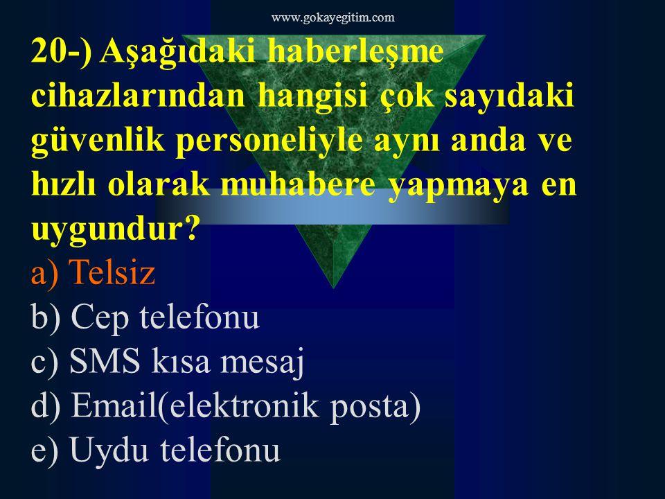 www.gokayegitim.com 20-) Aşağıdaki haberleşme cihazlarından hangisi çok sayıdaki güvenlik personeliyle aynı anda ve hızlı olarak muhabere yapmaya en uygundur.